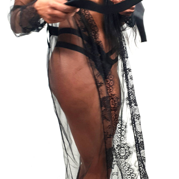 Ultra Sheer  Robe with lace details