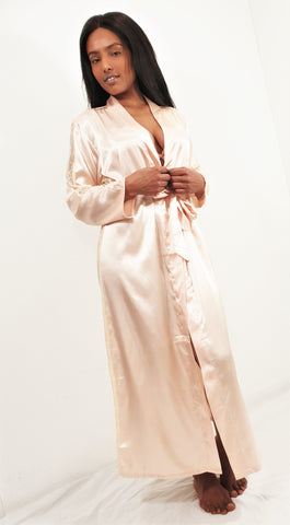 Long Satin Robe with Lace details