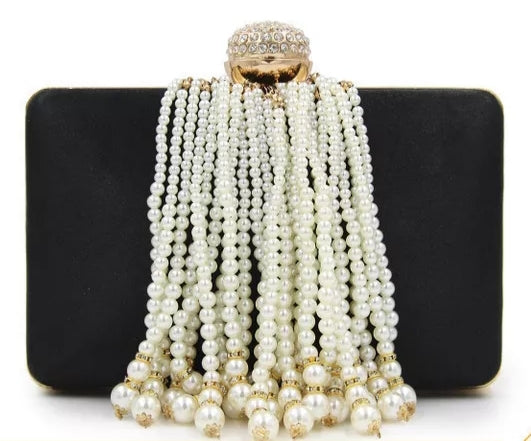 Faux Pearl Satin Clutch Bag
