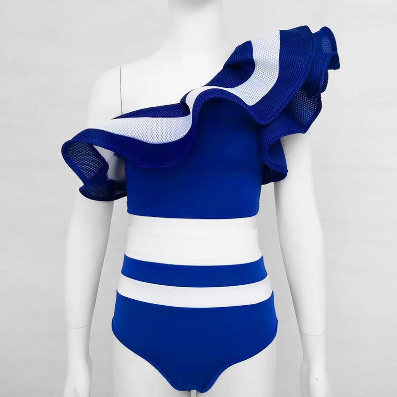 One Shoulder Frilled Bikini