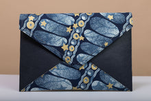 Load image into Gallery viewer, BY M.A.R.Y Accessories Blue and Golden Flowers; Gamila Clutch - Blue and Golden Stars