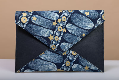 BY M.A.R.Y Accessories Blue and Golden Flowers; Gamila Clutch - Blue and Golden Stars