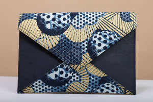 BY M.A.R.Y Accessories Blue and Golden Stars; Gamila Clutch - Blue and Golden Stars
