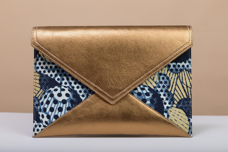 BY M.A.R.Y Accessories Bronze and Golden Flowers Gamila Clutch - Blue and Golden Stars