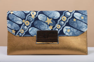 BY M.A.R.Y Accessories Bronze and Golden Stars Vashti Clutch - Bronze and Golden Stars