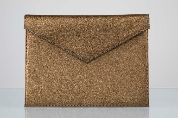 BY M.A.R.Y Accessories Metallic Bronze Zahra Clutch - Metallic Grey