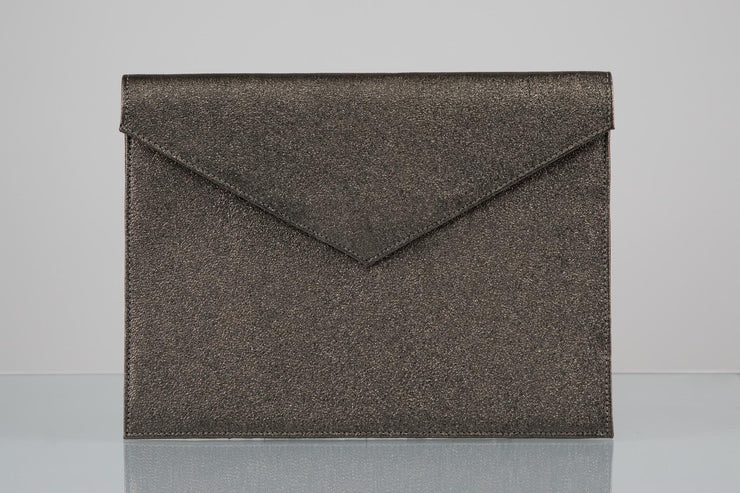BY M.A.R.Y Accessories Metallic Grey Zahra Clutch - Metallic Silver