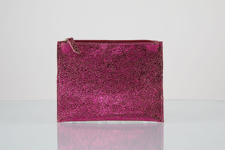 BY M.A.R.Y Accessories Metallic Pink Kanta Clutch - Metallic Silver