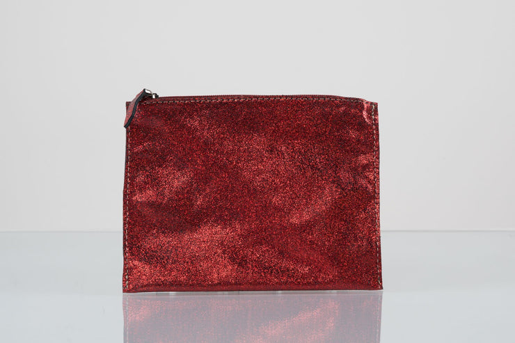 BY M.A.R.Y Accessories Metallic Red Kanta Clutch - Metallic Silver