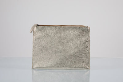 BY M.A.R.Y Accessories Metallic Silver Kanta Clutch - Metallic Silver