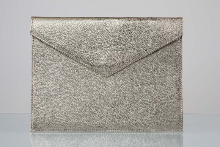 BY M.A.R.Y Accessories Metallic Silver Zahra Clutch - Metallic Grey