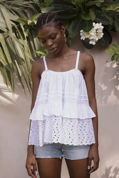 BY M.A.R.Y Beach Strappy Top - White