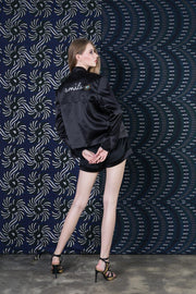 BY M.A.R.Y Embroidered Satin Jacket - Black