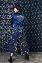 BY M.A.R.Y Embroidered Satin Jacket - Blue