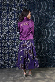 BY M.A.R.Y Embroidered Satin Jacket - Purple