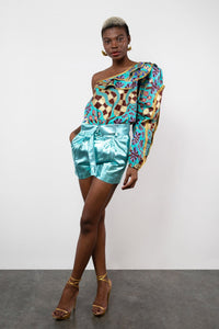 BY M.A.R.Y Fabric Zawadi Top / S/M Fabric - Turquoise/Gold Coral