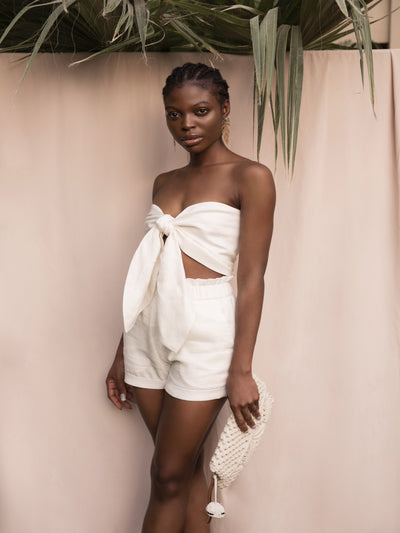 BY M.A.R.Y High Waist Shorts - Off-White