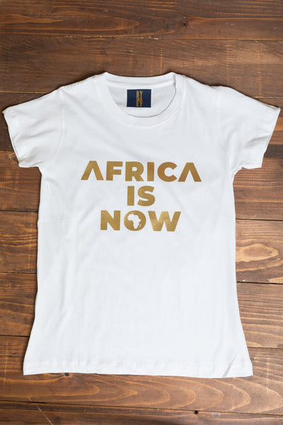 BY M.A.R.Y M Africa is now T-shirt - White with Golden print