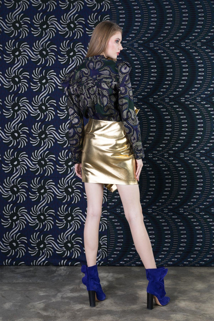 BY M.A.R.Y Metallic leather Skirt - Gold