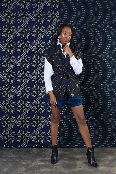 BY M.A.R.Y Quilted Sleeveless Coat - Blue