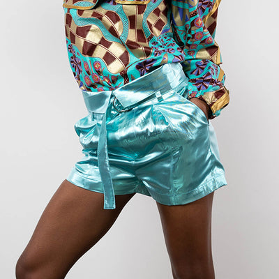 BY M.A.R.Y S Afia Shorts - Metallic Blue