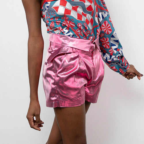 BY M.A.R.Y S Afia Shorts - Metallic Pink