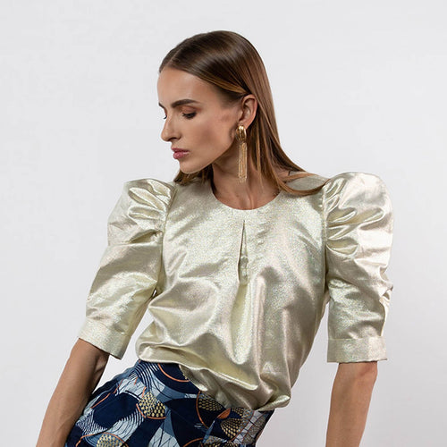 BY M.A.R.Y S/M Elaine Top - Metallic Gold