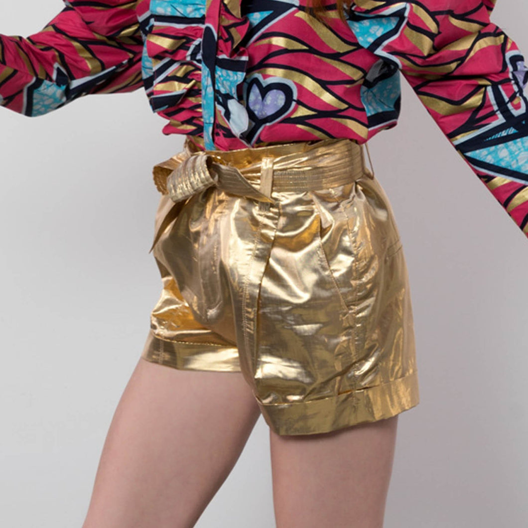 BY M.A.R.Y S/M Nubia Shorts - Metallic Gold