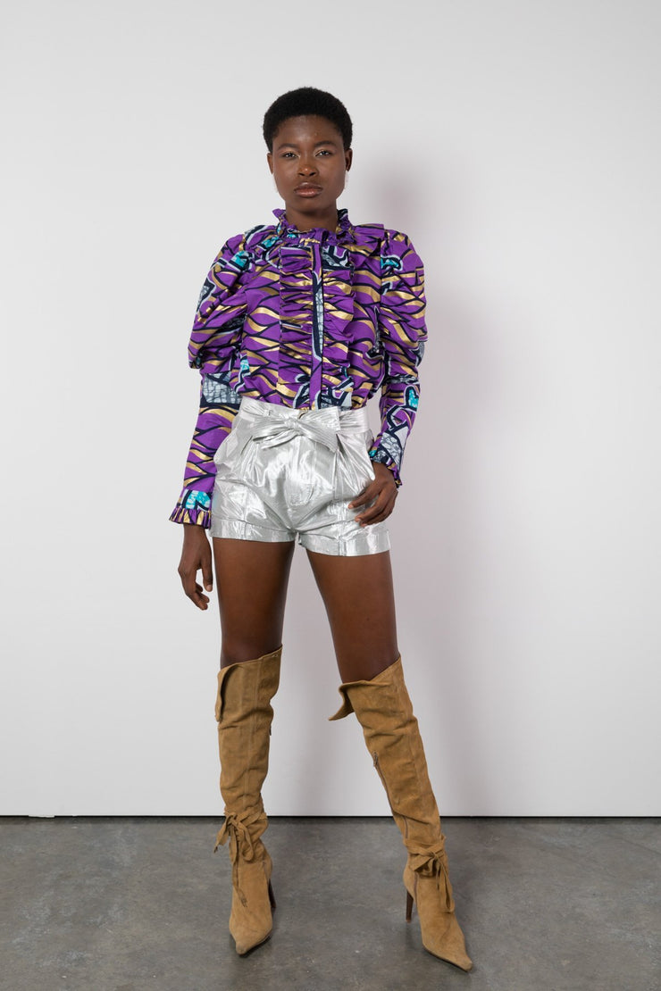 BY M.A.R.Y S/M Nubia Shorts - Metallic Silver