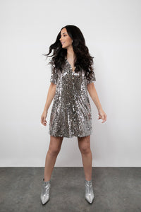 BY M.A.R.Y S/M Valentina Dress - Silver Sequins