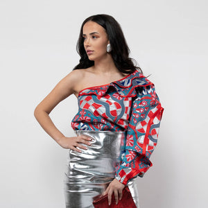 BY M.A.R.Y S/M Zawadi Top - Red/Silver Coral