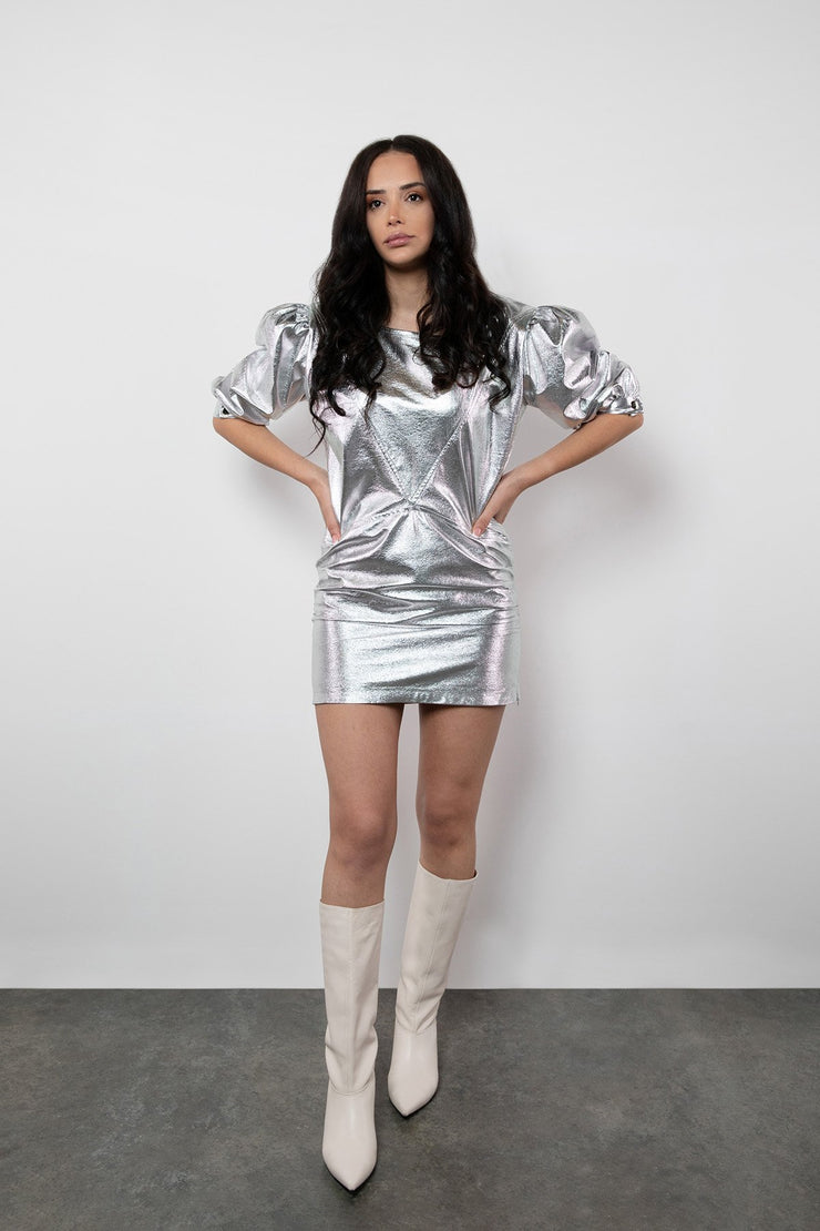 BY M.A.R.Y S Turid Dress - Metallic Silver