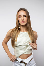 BY M.A.R.Y S Zaina Crop Top - Metallic Gold