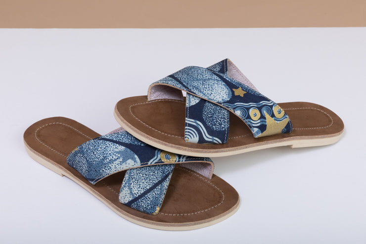 BY M.A.R.Y Shoes Blue and Golden Stars / 37 Sandals - Blue and Golden Flowers