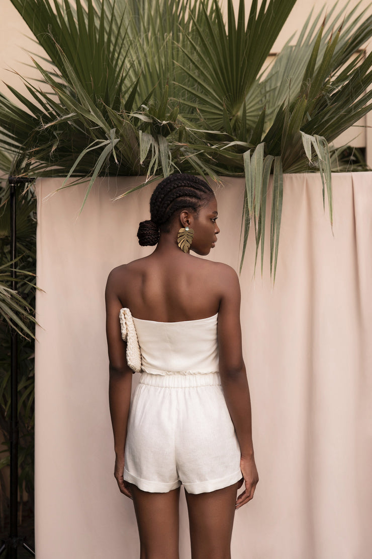 BY M.A.R.Y Unique size Organic Linen Bandeau - Off White