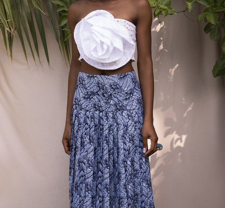 BY M.A.R.Y Wax Patterned Skirt - Dark & Light Blue