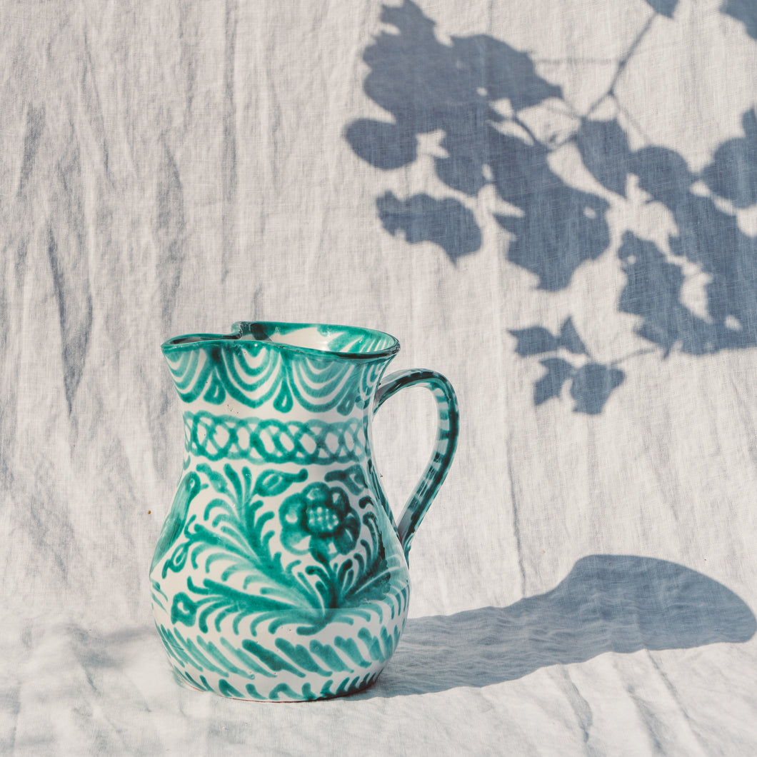 Casa Verde SMALL pitcher with hand painted designs