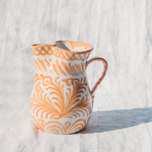 Casa Melocoton SMALL pitcher with hand painted designs