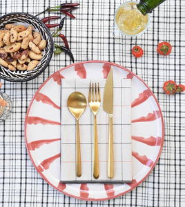 Casa Coral SALAD plate with candy cane stripes