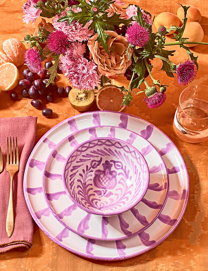 Dinner plate with candy cane stripes