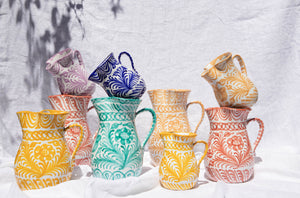 Casa Coral MEDIUM pitcher with hand painted designs