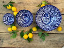 Load image into Gallery viewer, Casa Azul MEDIUM bowl with hand painted designs