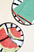 Load image into Gallery viewer, Casa Blanca & Negra SALAD plate with candy cane stripes