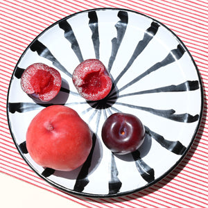 Casa Blanca & Negra SALAD plate with candy cane stripes