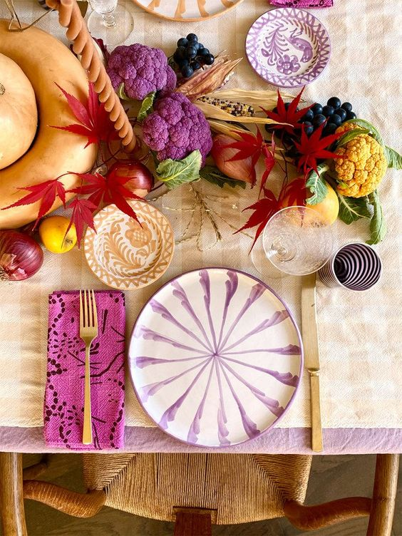 Salad plate with candy cane stripes