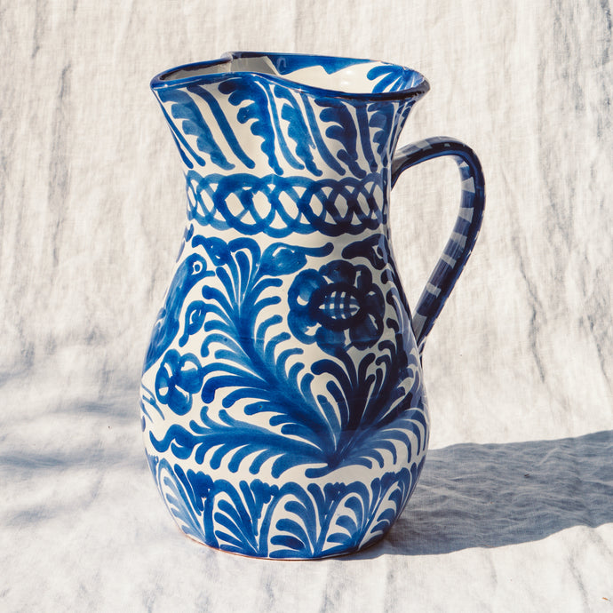 Casa Azul LARGE pitcher with hand painted designs
