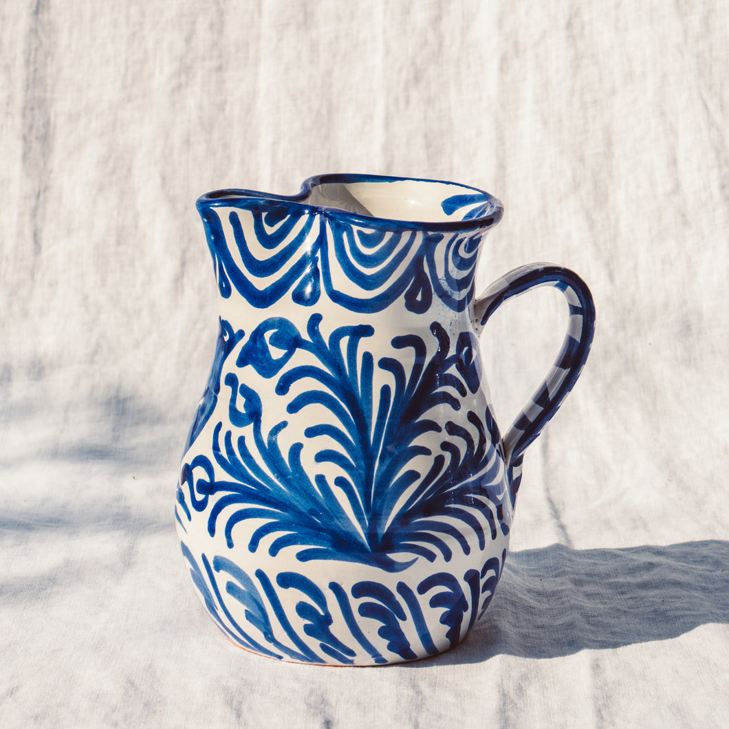 Casa Azul SMALL pitcher with hand painted designs
