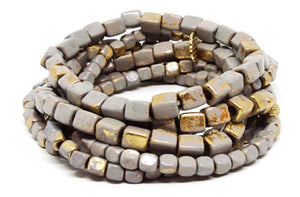 Marlyn Schiff Coated Metal Stretch Bracelet Set-Gold/Grey