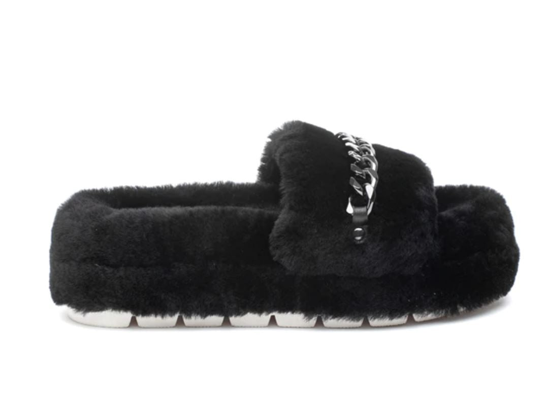 J Slides Billie Black Shearling
