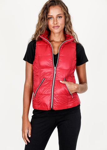 My Anorak Cherry Red Short Puffer Vest